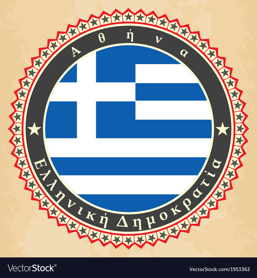Vintage label cards of greece flag vector