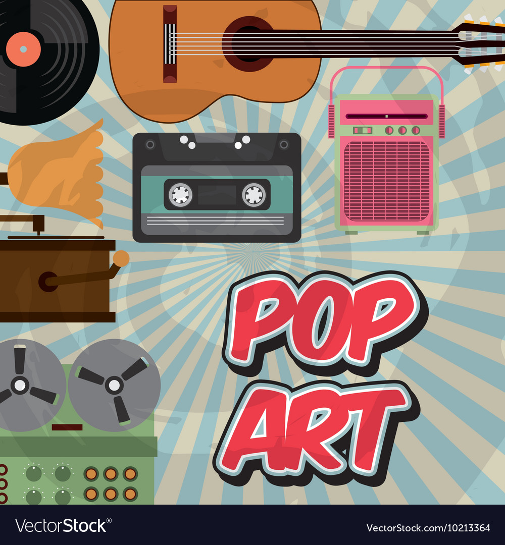Music vintage old popart vector