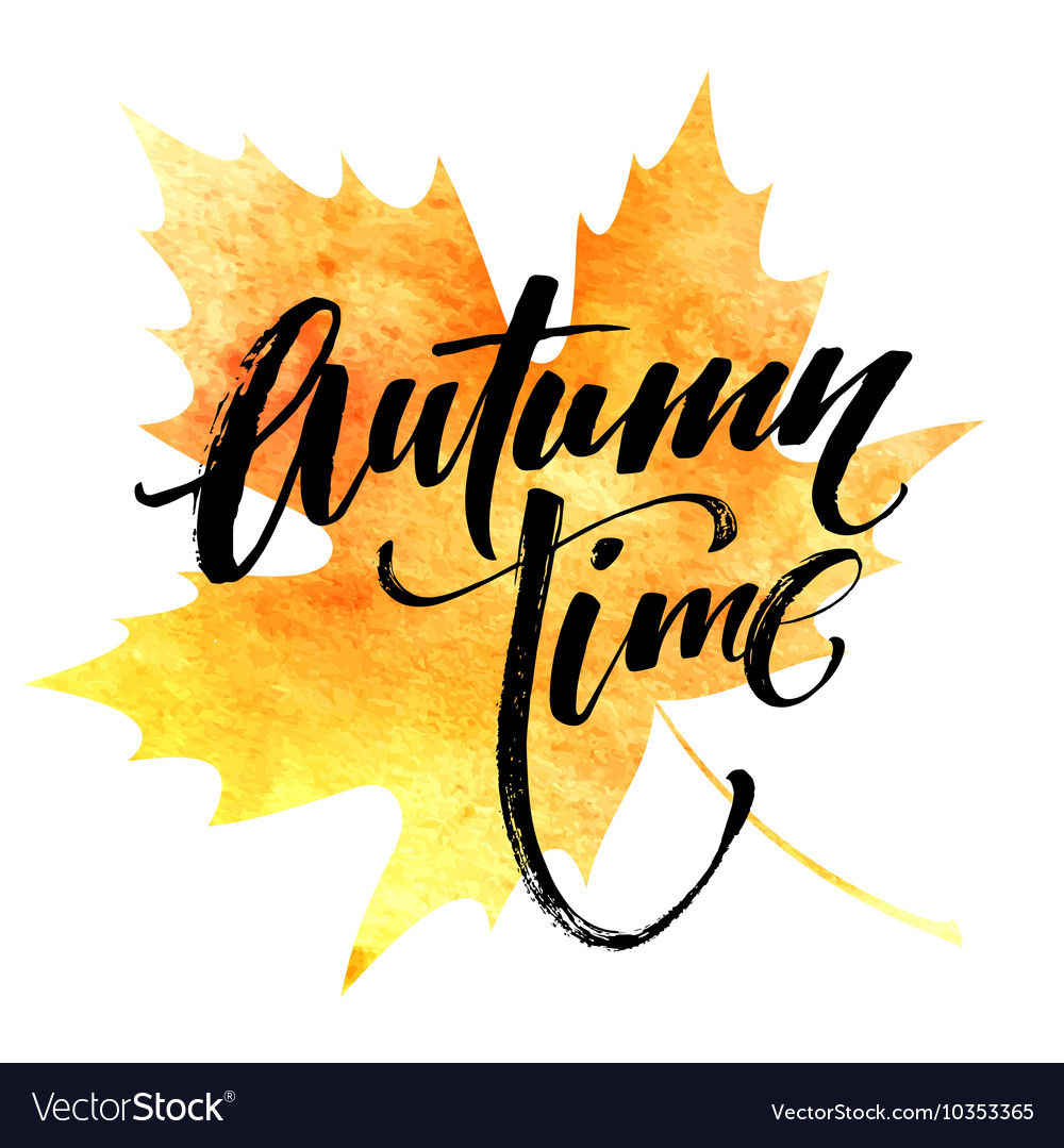 Fall time poster with colorful watercolor leaves vector