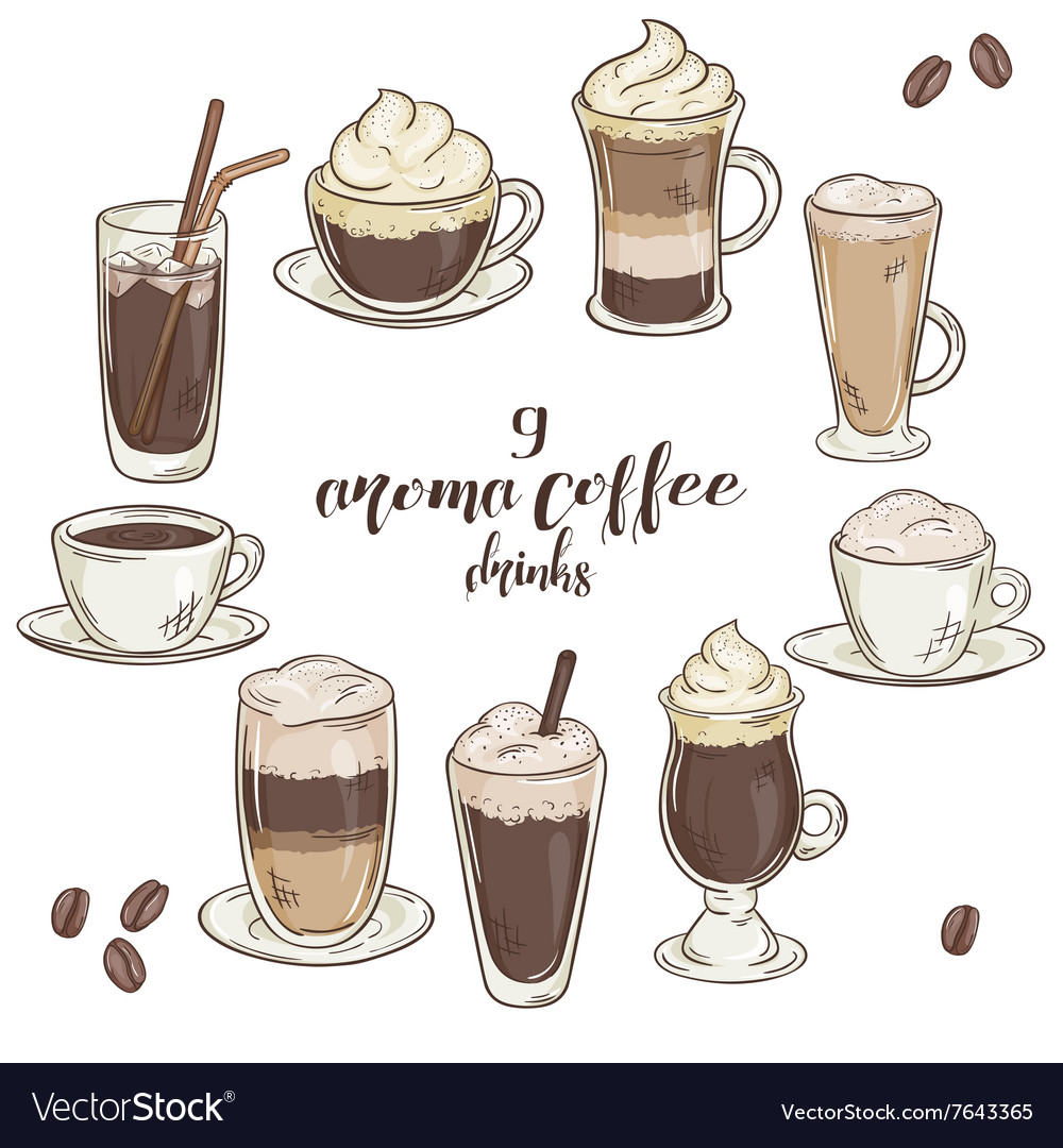 Printable with set of isolated cup of coffee vector