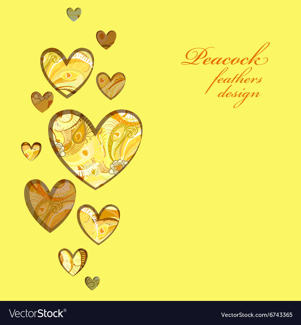 Yellow painted peacock feathers hearts design vector