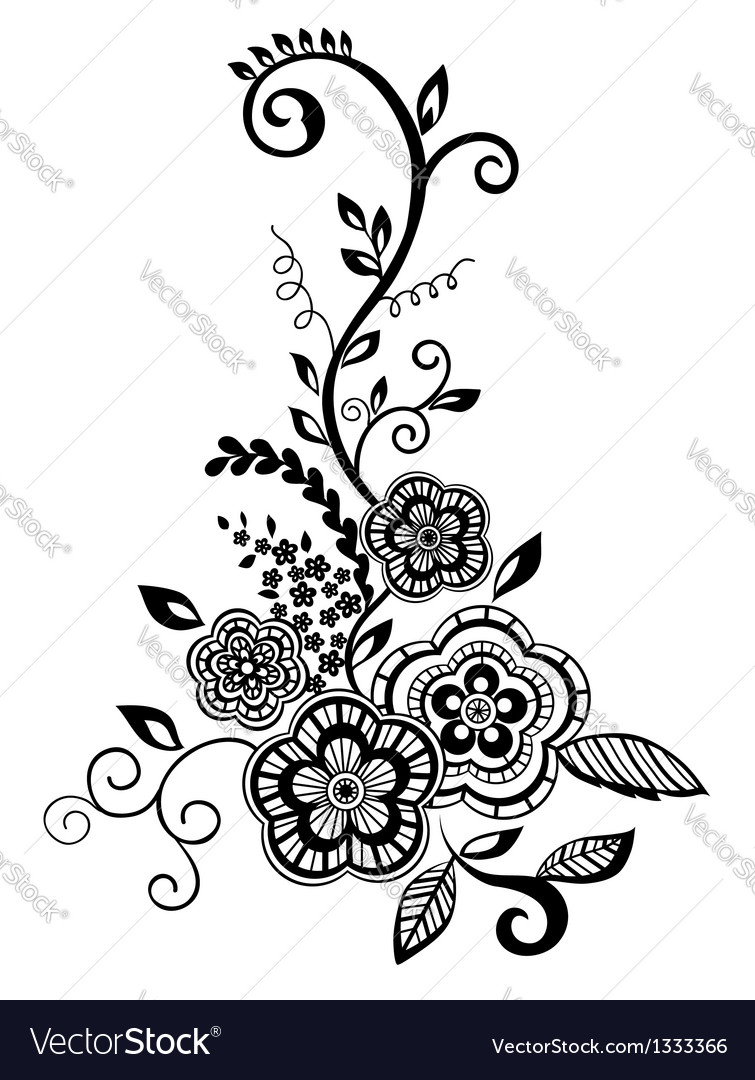 Blackandwhite flowers and leaves design element vector