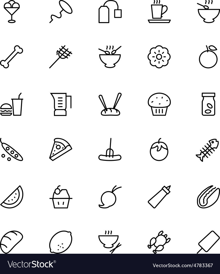 Food and drinks line icons 14 vector