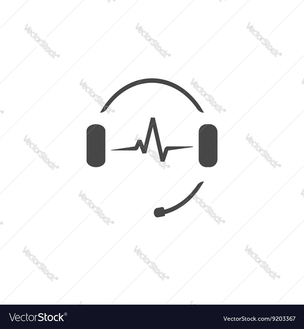 Headphones microphone music sound waves radio vector