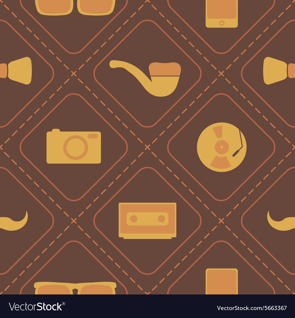Seamless background with different hipster objects vector