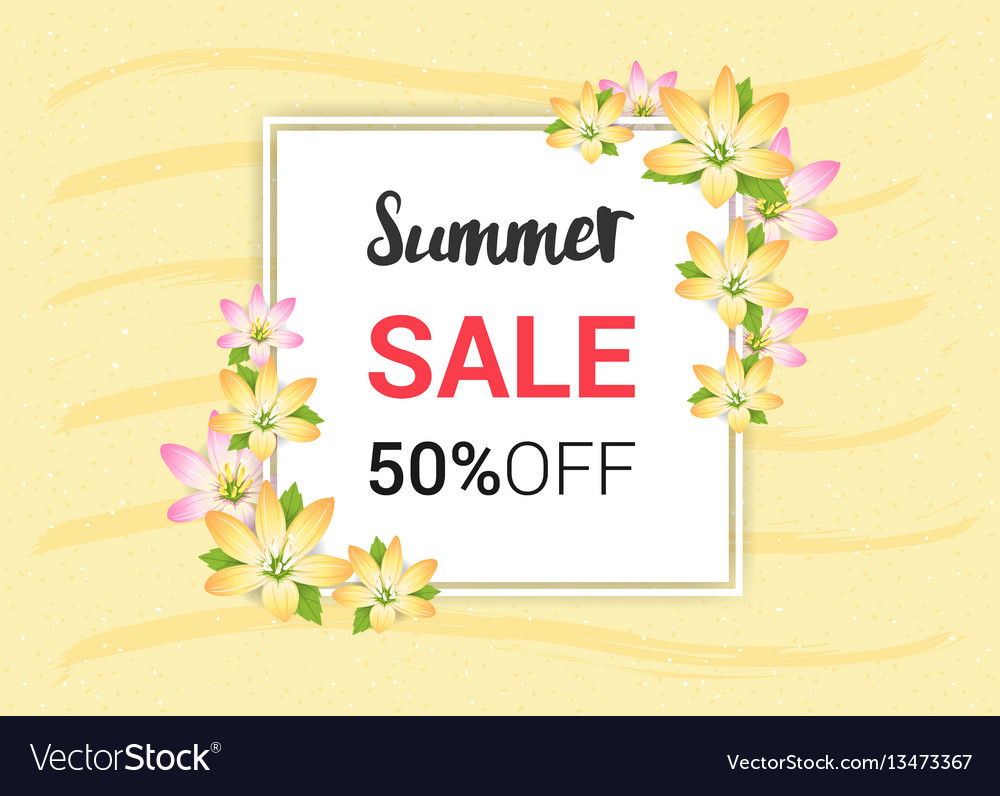 Summer flowers banner or poster for holiday sales vector