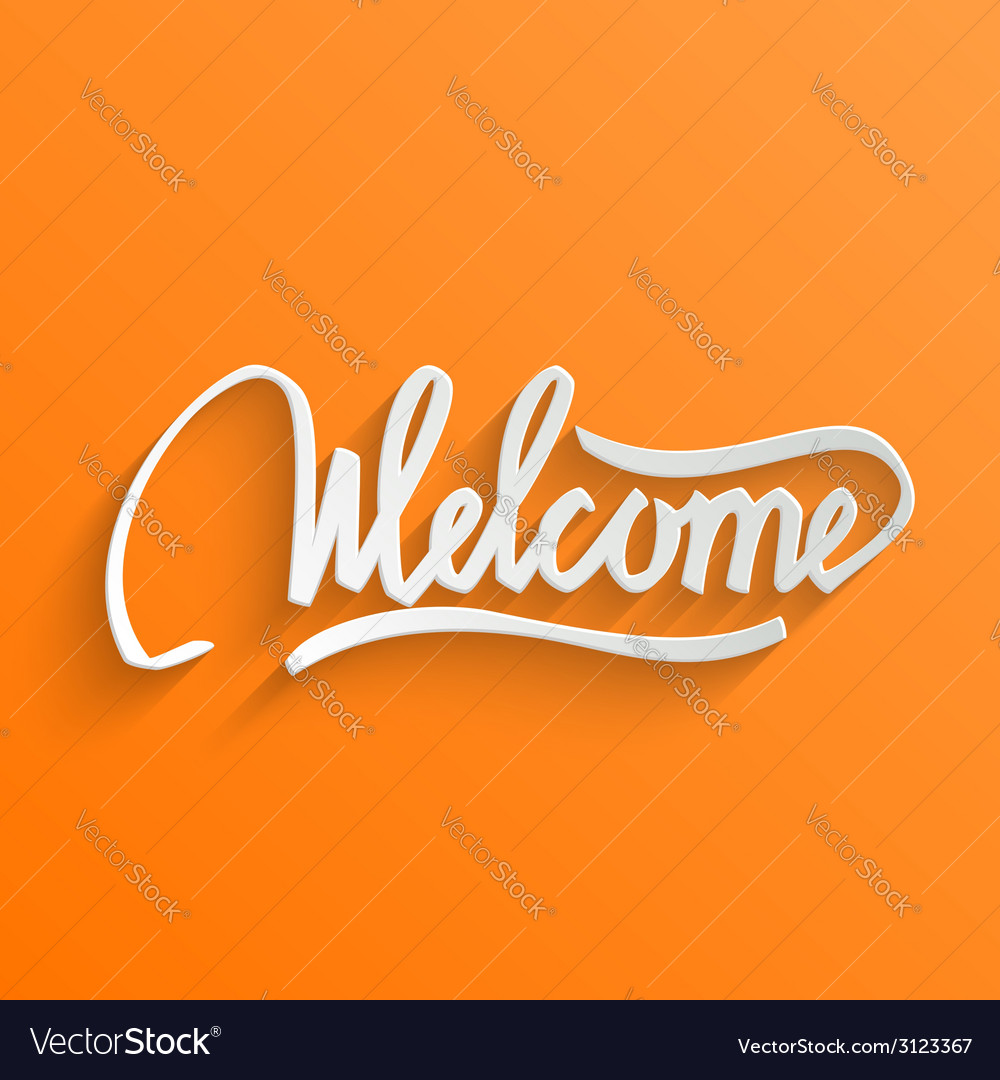 Welcome lettering greeting card vector