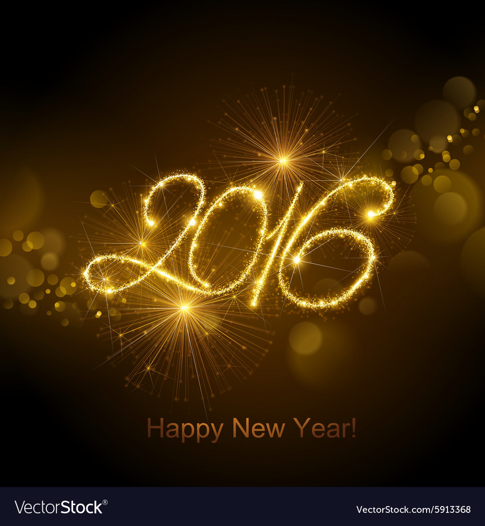 New year 2016 fireworks vector