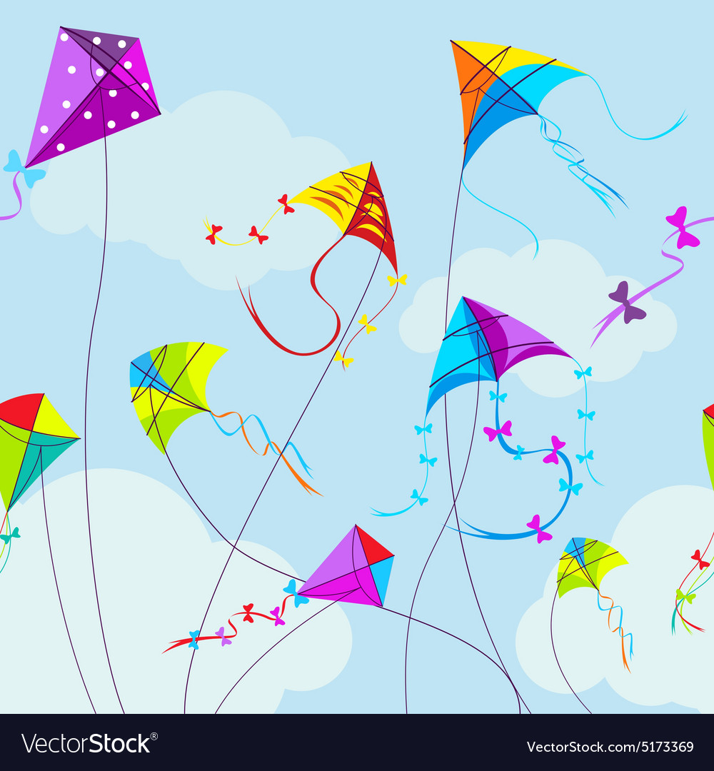 Colorful kites and clouds vector