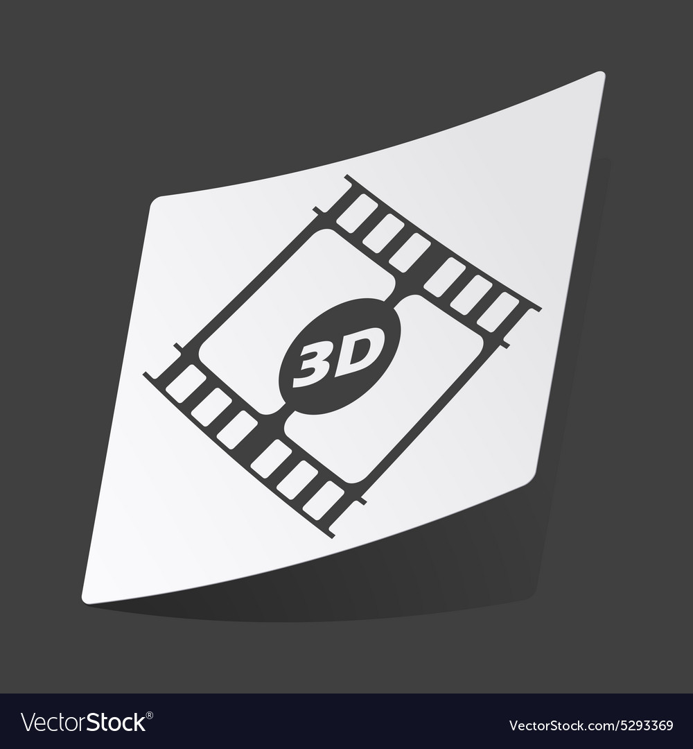 Monochrome 3d movie sticker vector