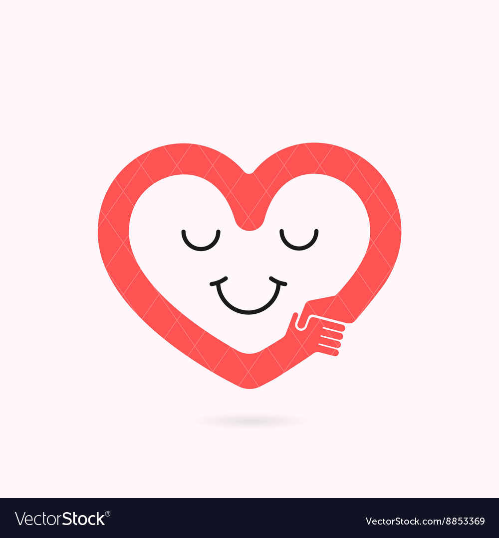 Smile heart shape and handshake symbol vector