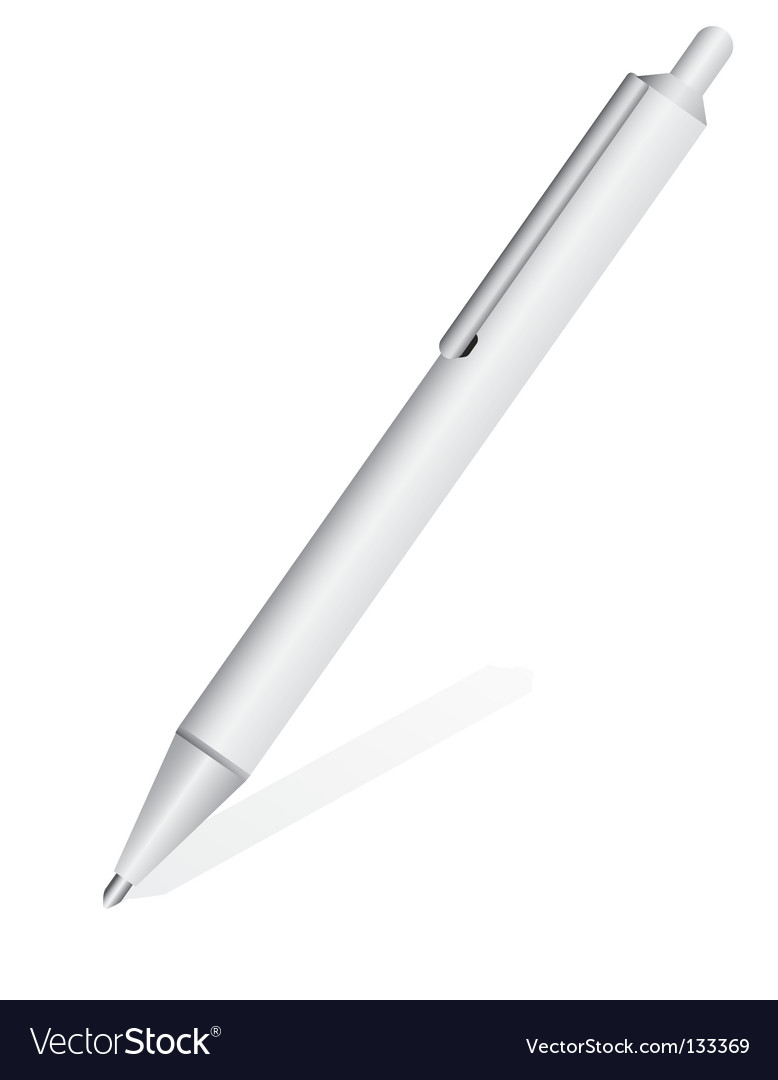 White metal pen vector