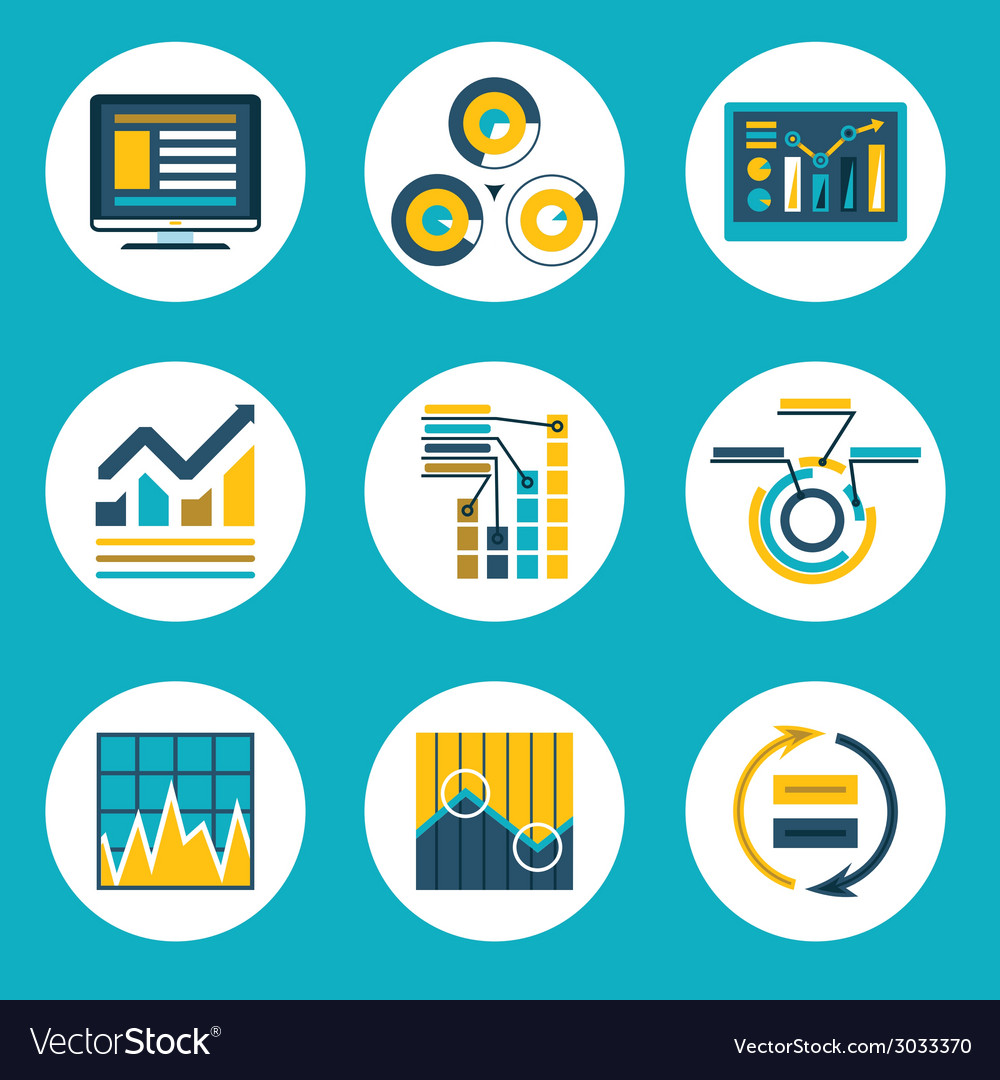 Data retro flat design style business infographics vector