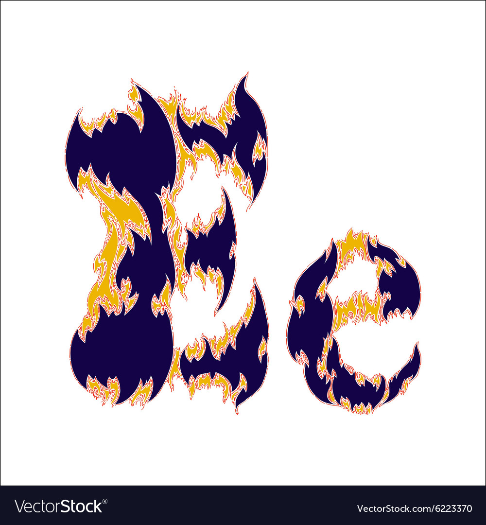 Fiery font blue letter e on a white background vector