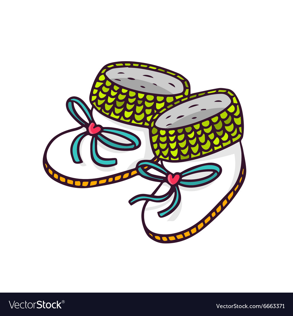 Baby booties bright children isolated on wh vector