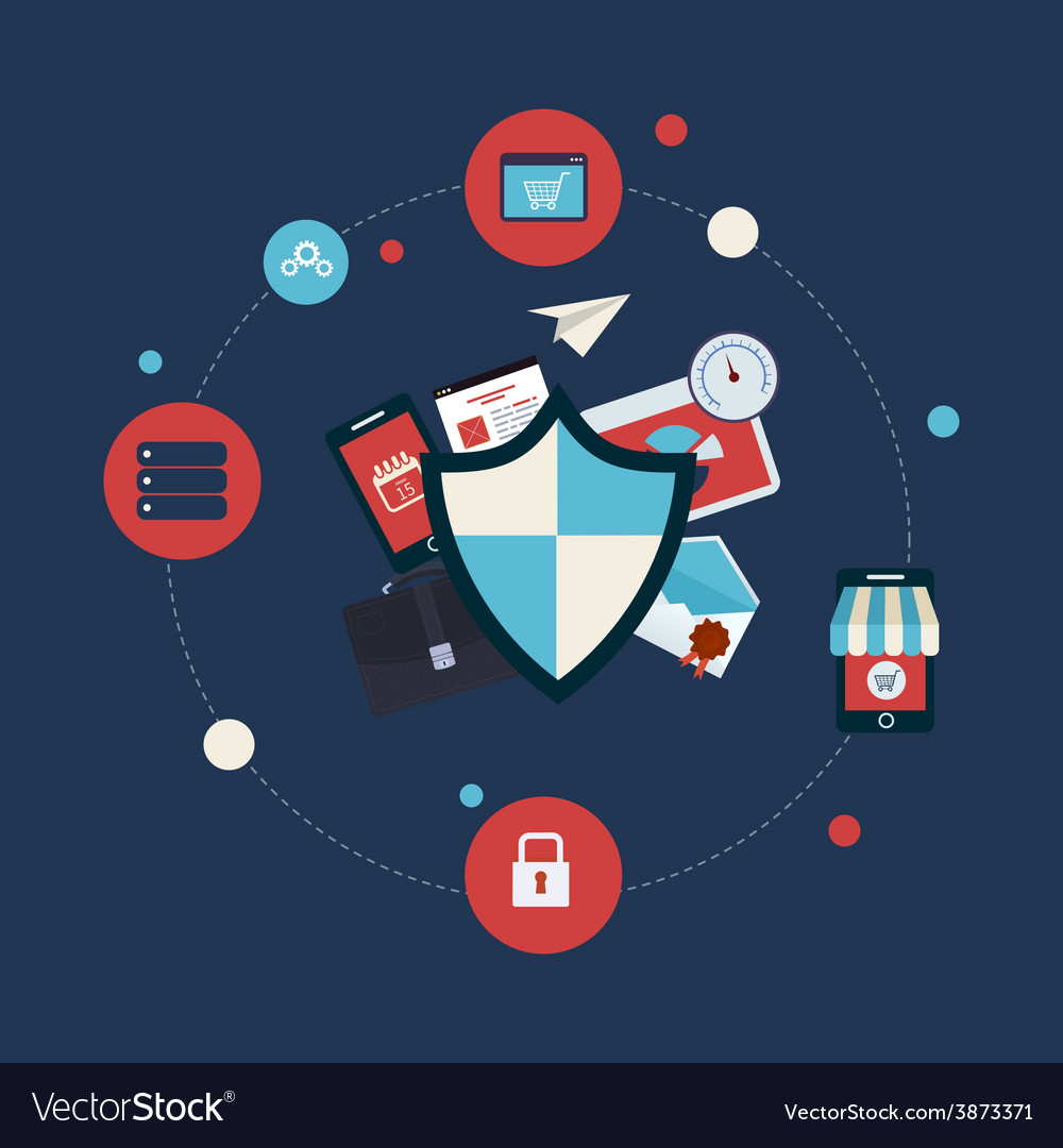 Flat shield icon data protection concept vector