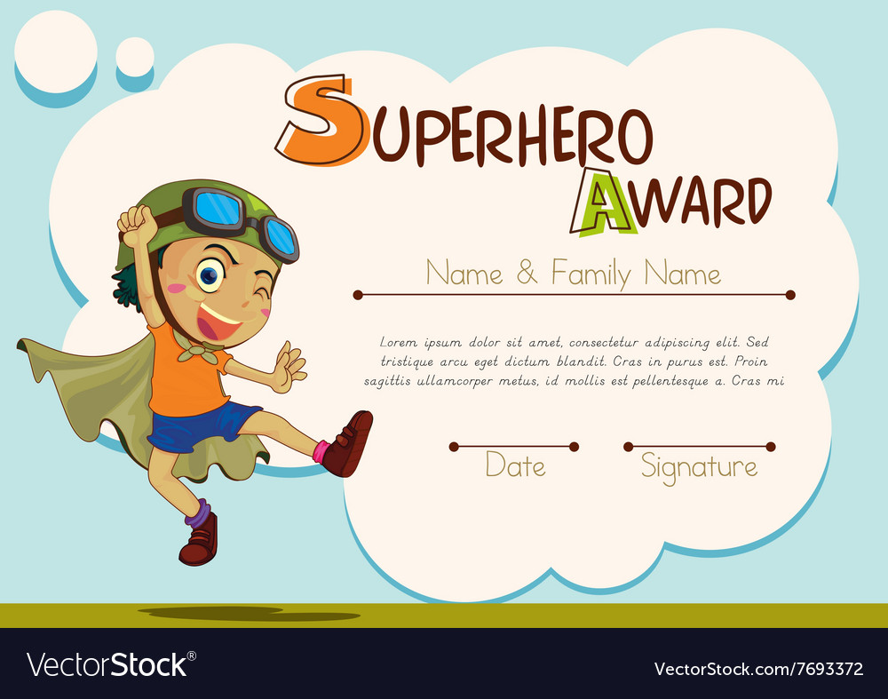 Certificate template with boy being superhero vector