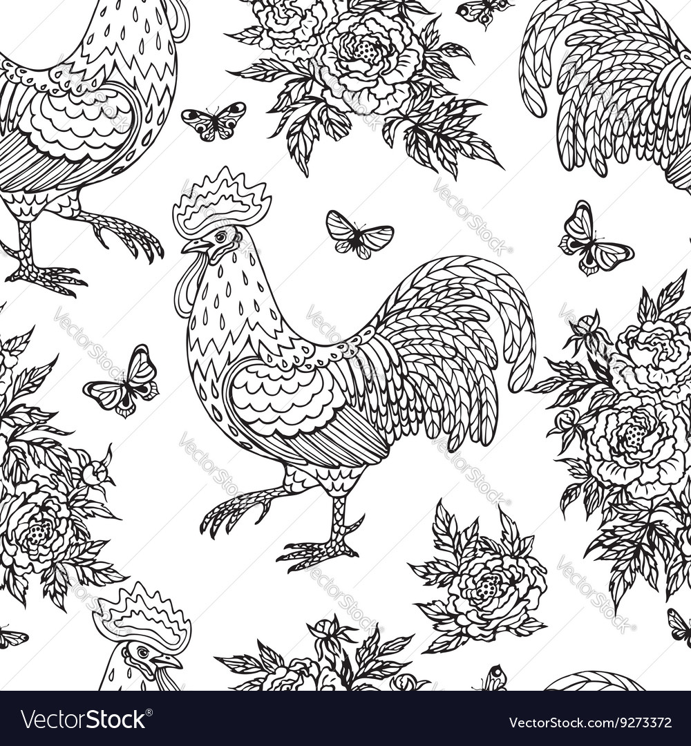 Cock flower pattern outline vector