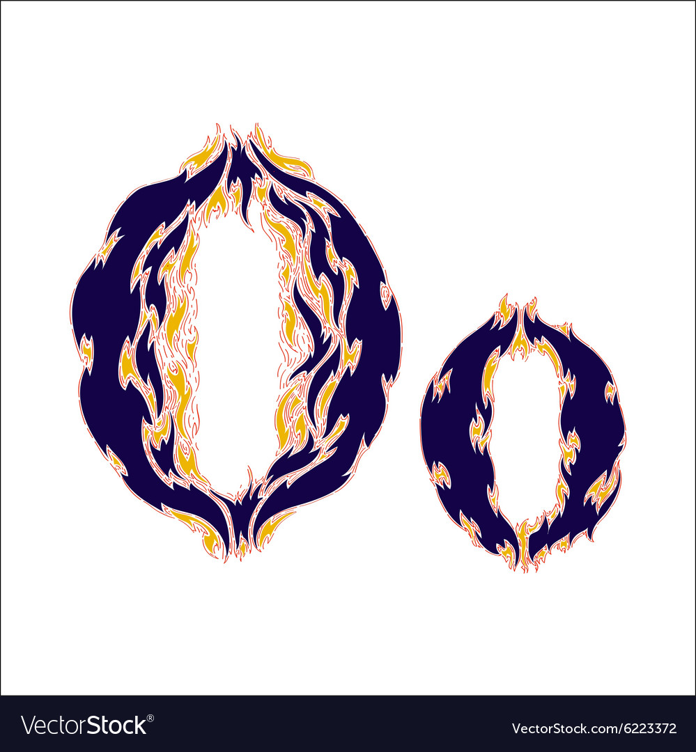 Fiery font blue letter o on a white background vector