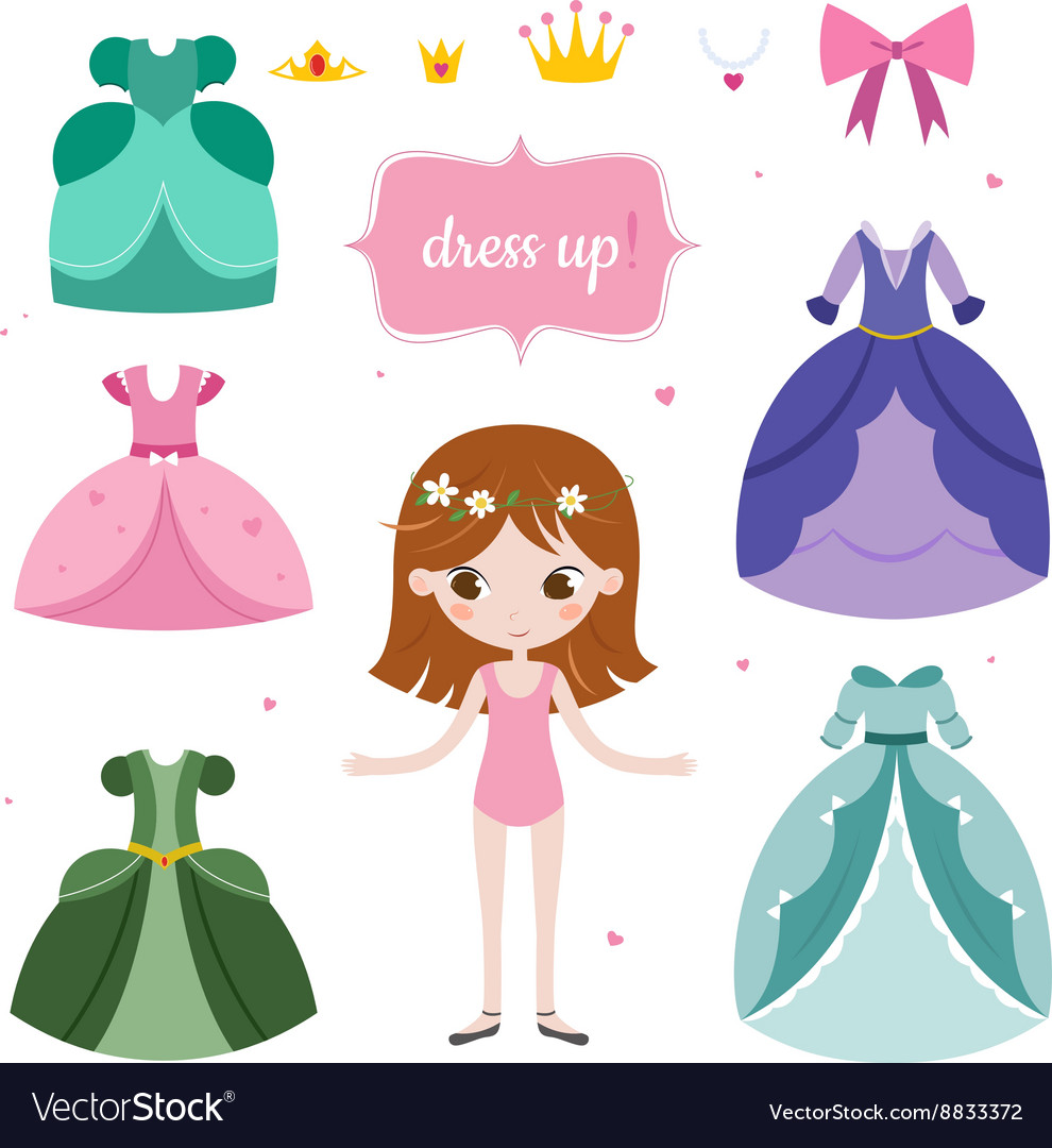 Princess with beautiful set vector