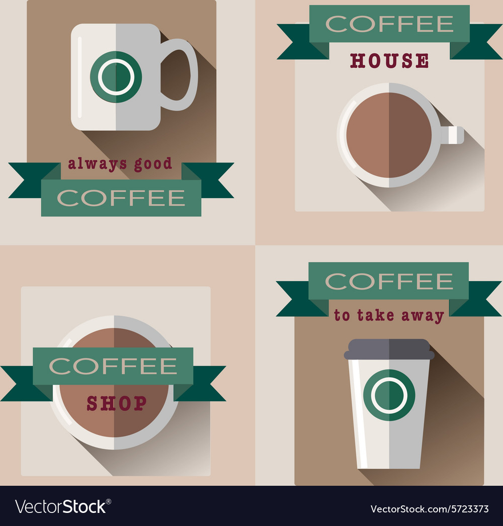 Set deducted to coffee shop in flat design s vector