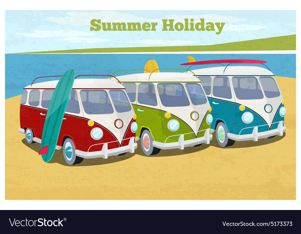 Summer travel design with camper van vector