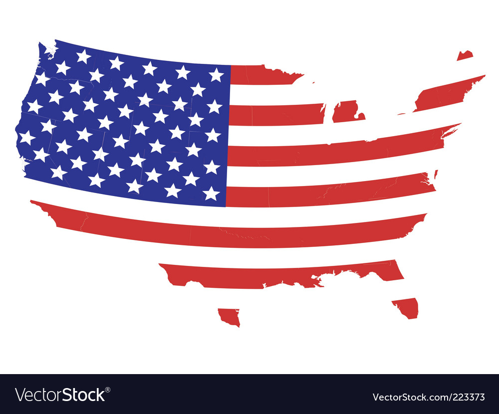 Us flag map vector