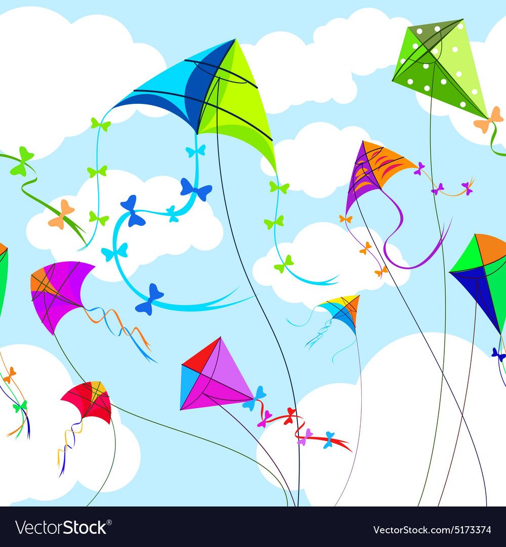 Kites and sky with clouds horizontal seamless vector