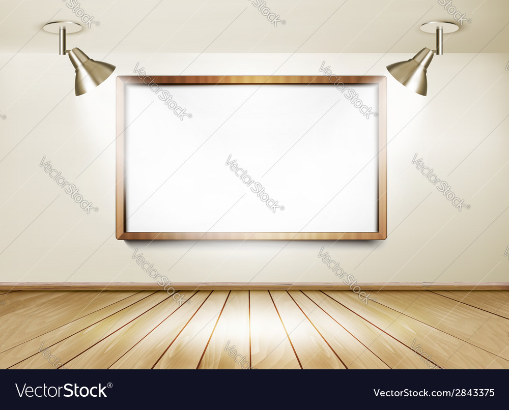 Showroom with wooden floor white board and two vector