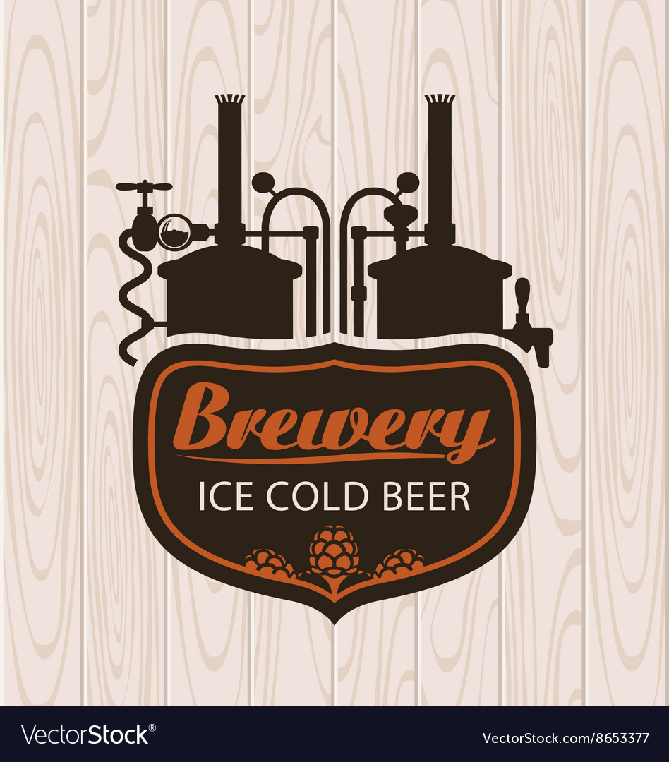 Brewery on the background of wooden boards vector