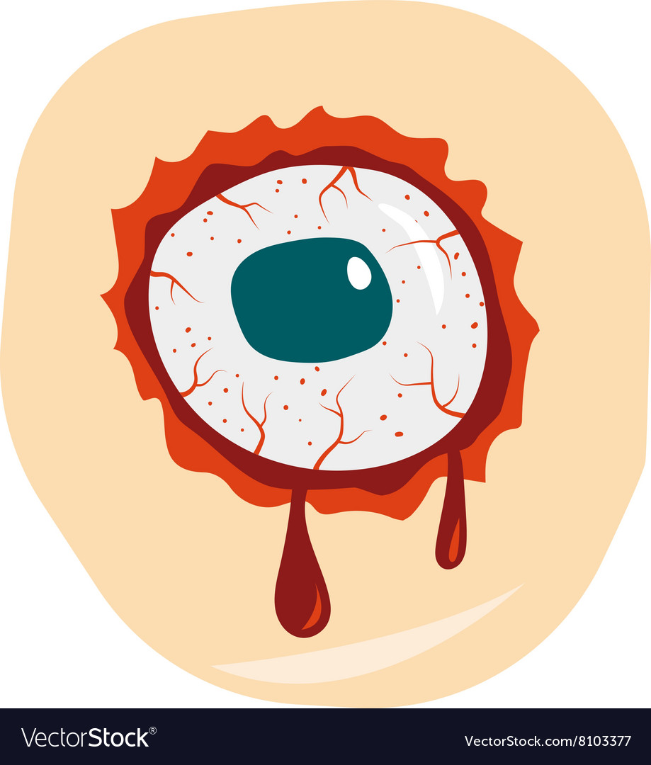 Cartoon doodle zombie eyes demon blood vector