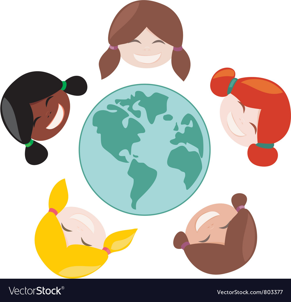 Happy mulicultural girls around the world vector