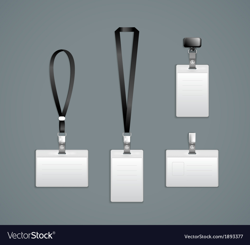 Lanyard retractor end badge templates vector