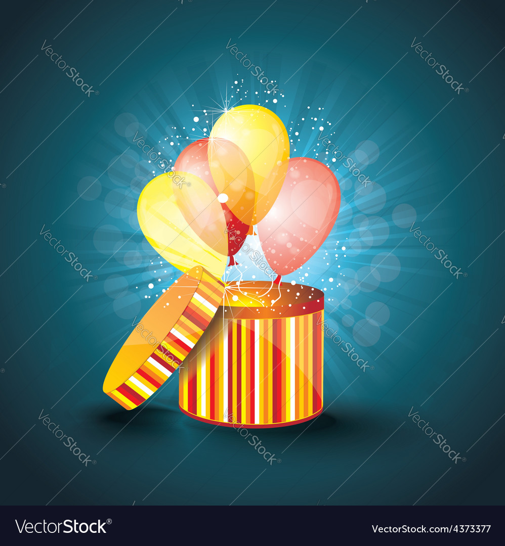 Open gift box with ballons and magic light vector
