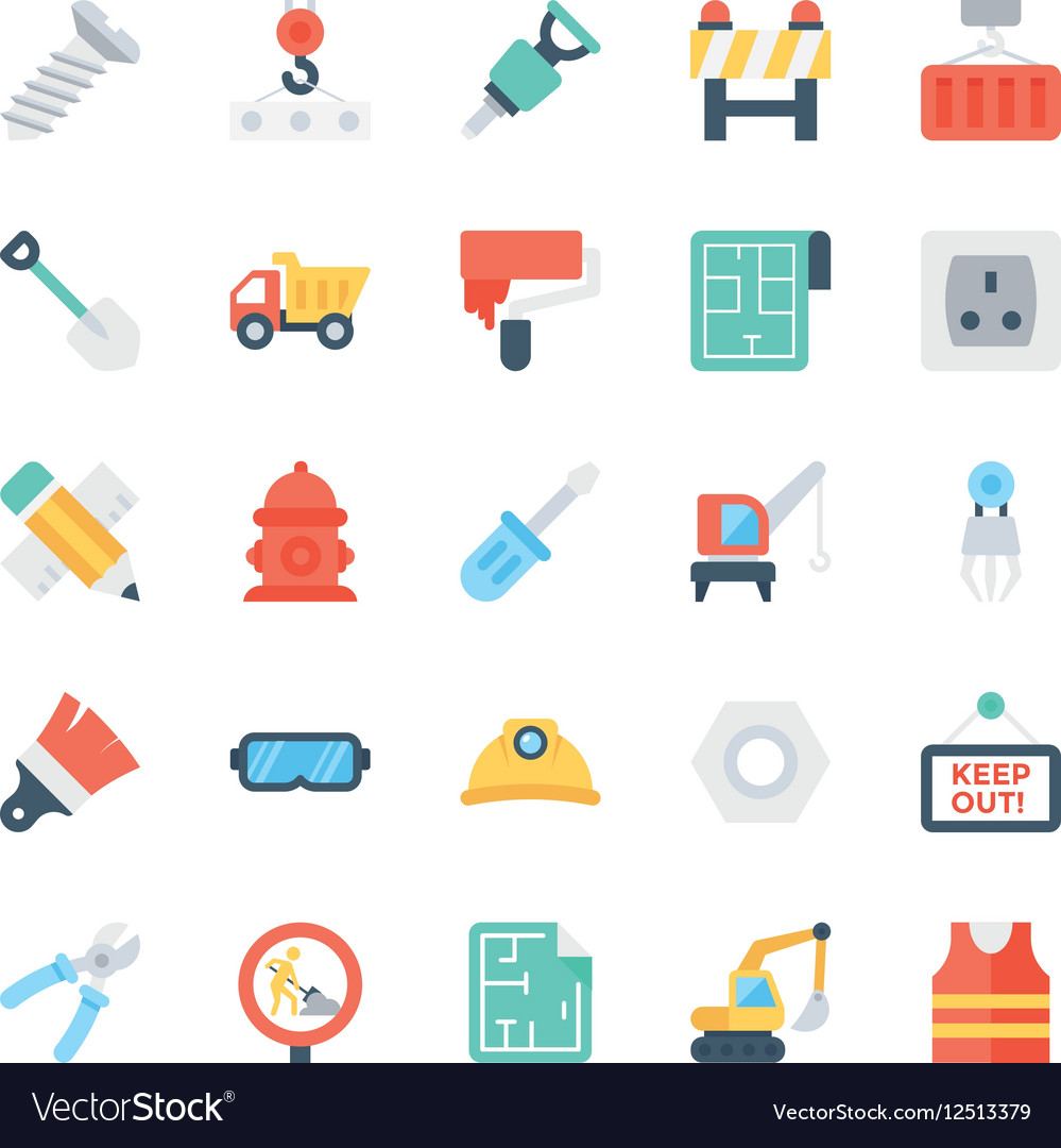 Construction colored icons 3 vector