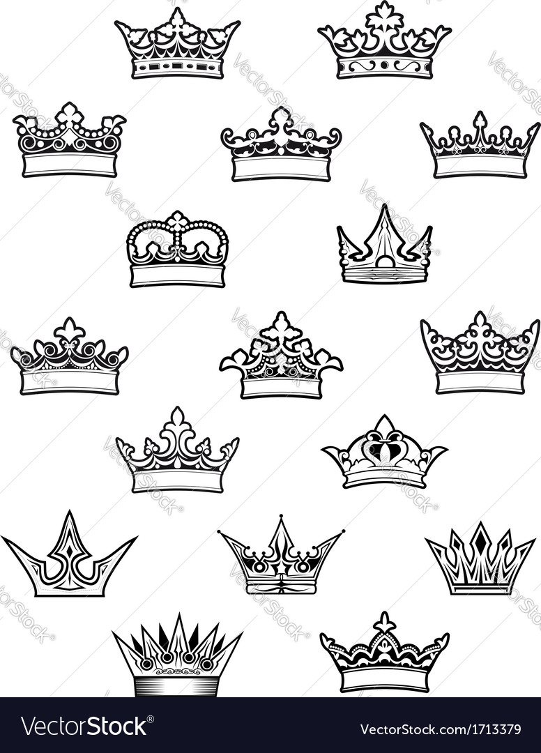 Heraldic king and queen crowns set vector