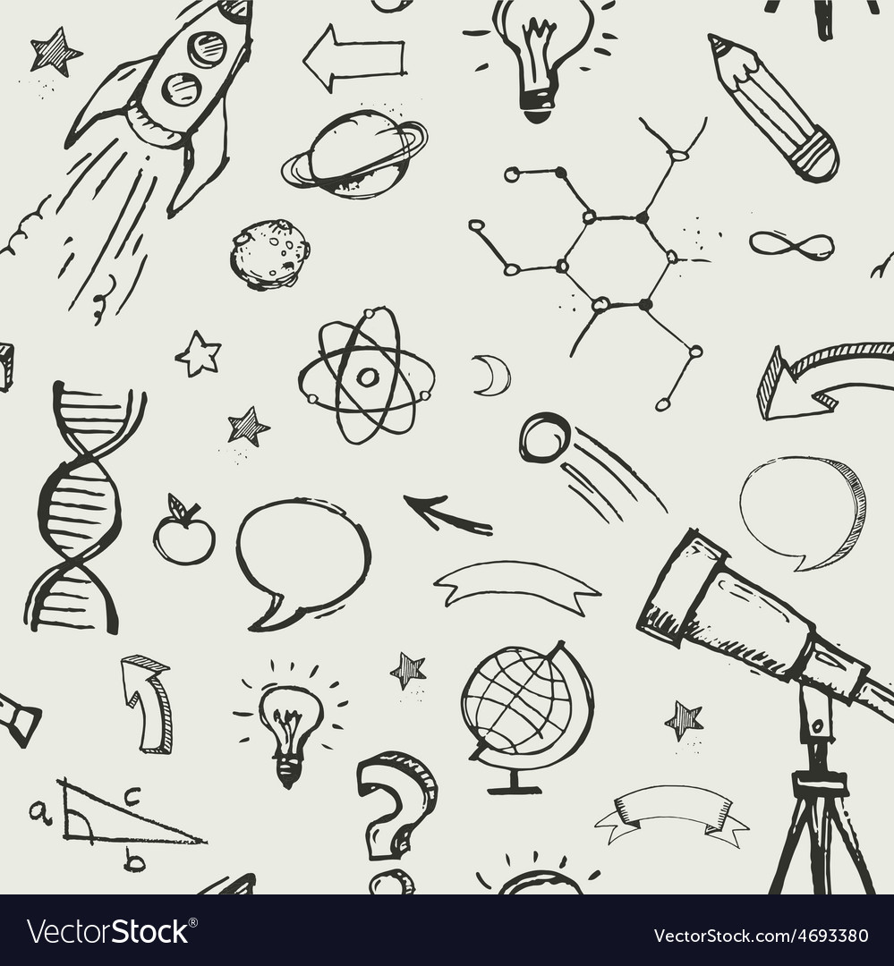 Education science doodles  seamless pattern vector