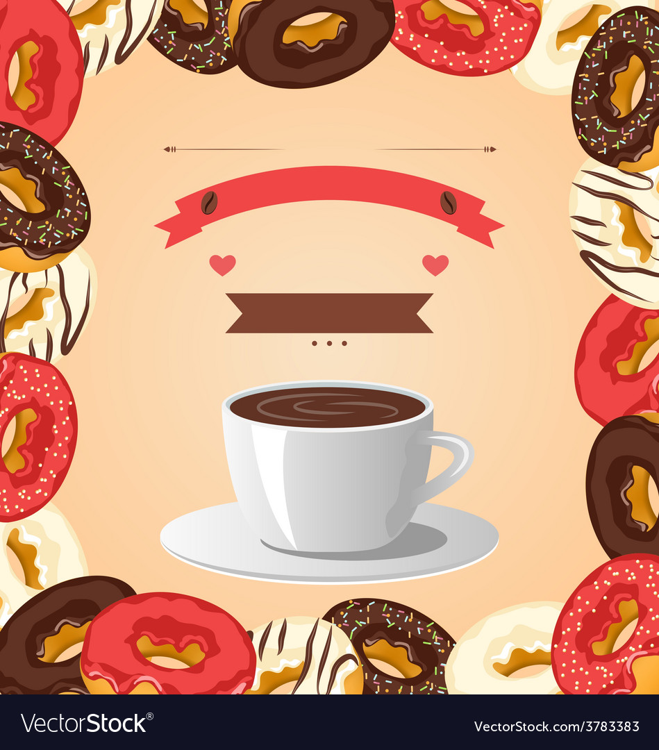Donuts with cup of coffee on beige vector
