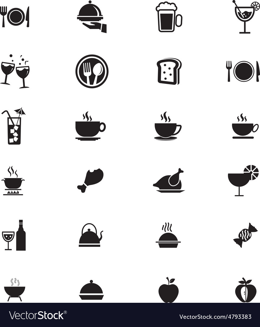 Food solid icons 1 vector