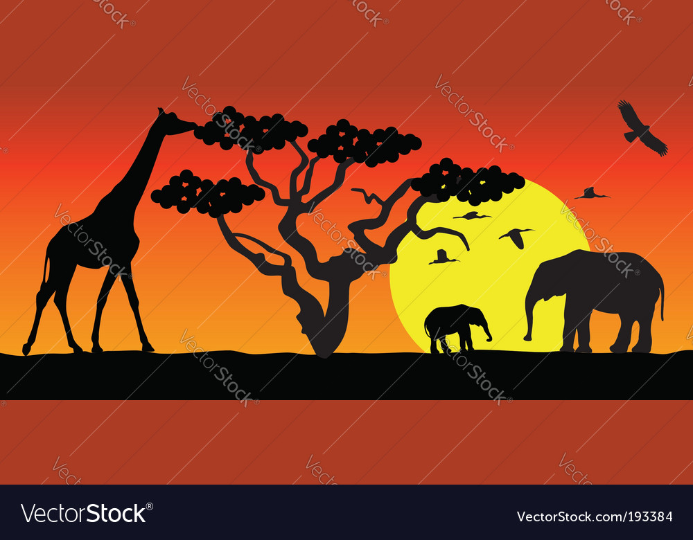 Animals in africa vector