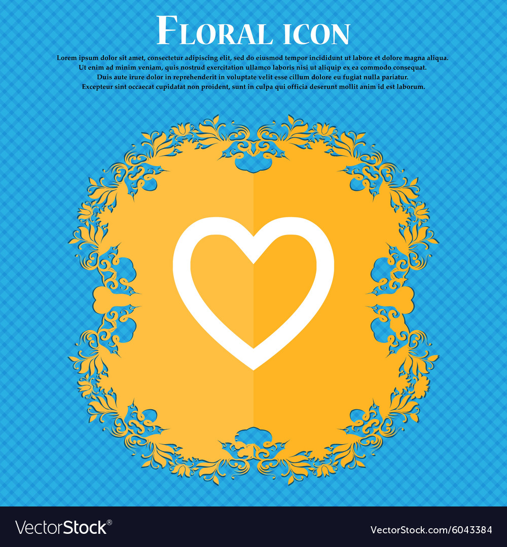 Medical heart love floral flat design on a blue vector