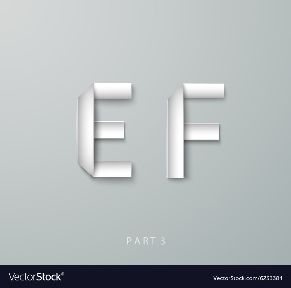 Paper origami alphabet e f with shadows vector