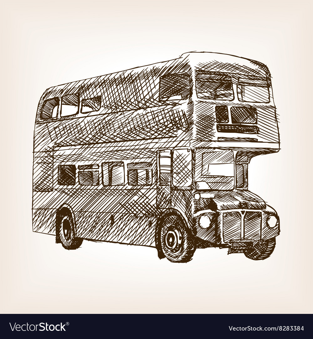 Retro bus hand drawn sketch vector