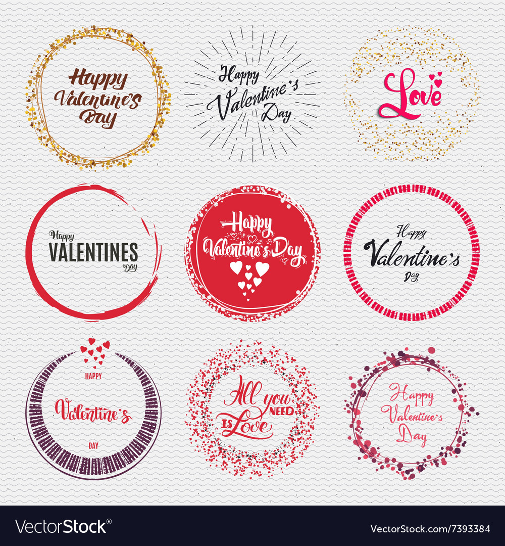 Valentines day  calligraphy typography badge it vector
