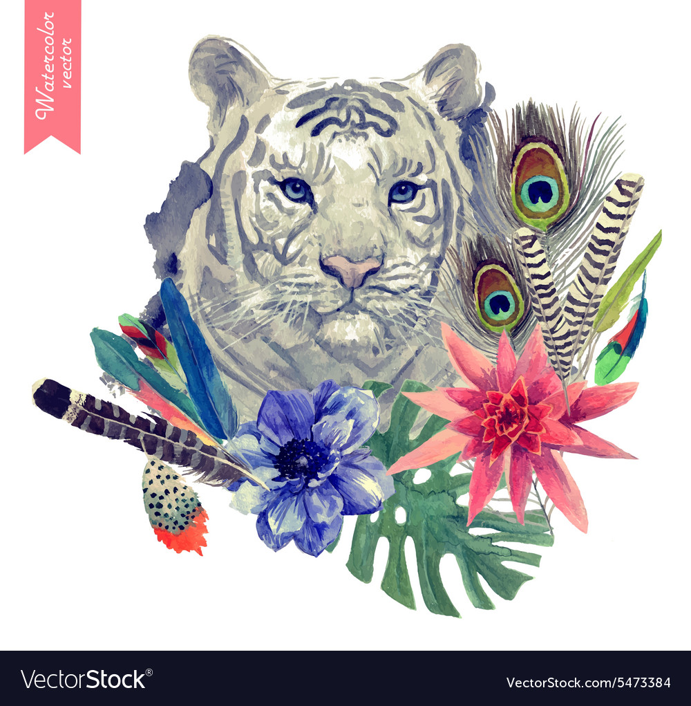 Vintage indian style tiger head with vector