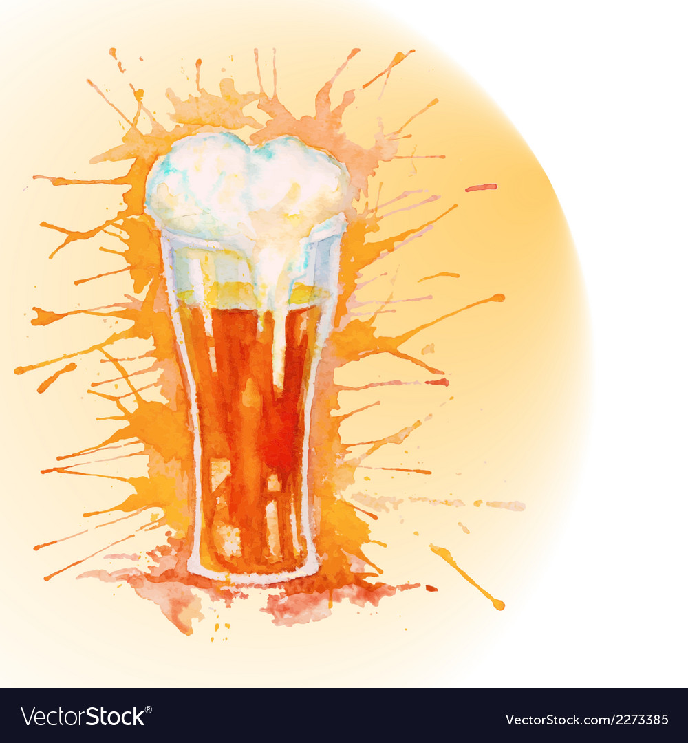 Watercolor glass of beer vector