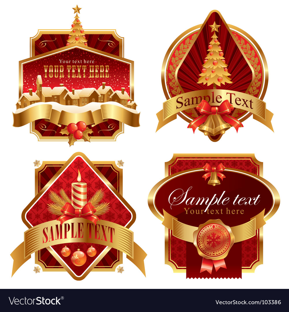 Christmas golden ornate frames vector