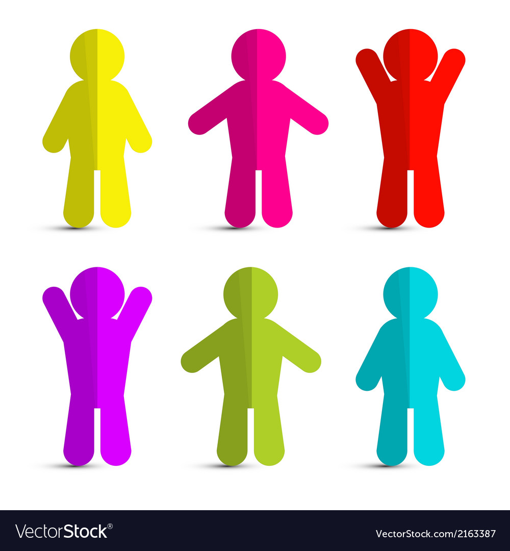 Colorful paper people icons  symbols on white vector
