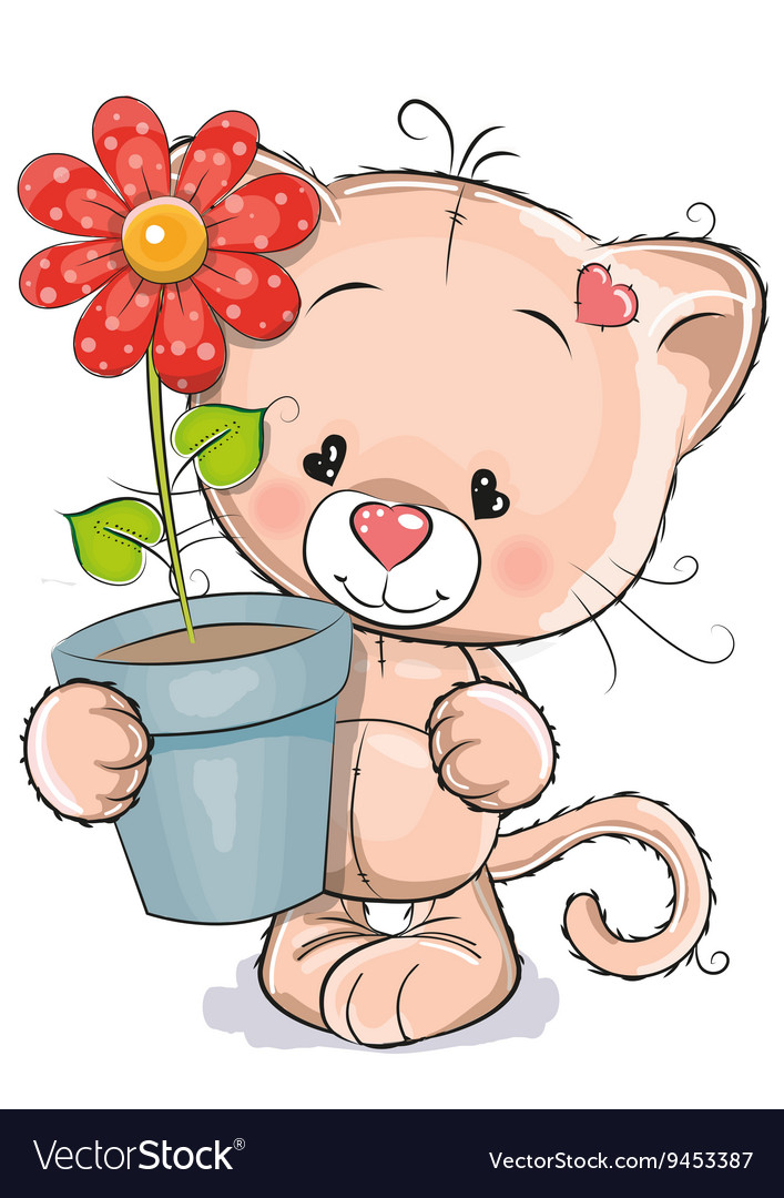 Kitten with flower vector