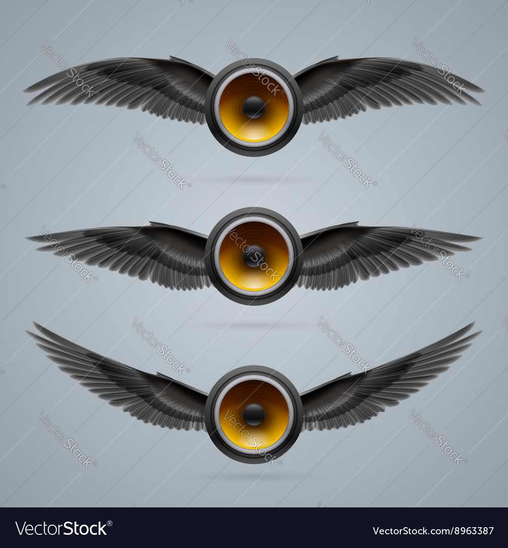 Three twowinged music speakers vector
